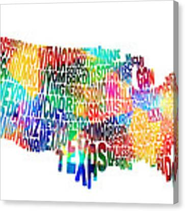 United States Map Canvas Prints Fine Art America
