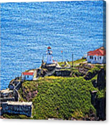 Fort Amherst Lighthouse On The South Side Of St Johns Harbour Canvas Print by Perla Copernik