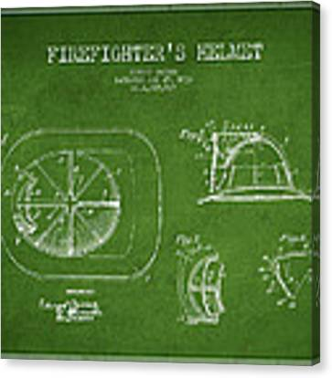 Vintage Firefighter Helmet Patent Drawing From 1932 Canvas Print by Aged Pixel