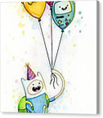 Adventure Time Finn With Birthday Balloons Jake Princess Bubblegum Bmo Canvas Print by Olga Shvartsur