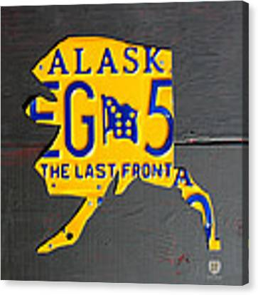 Alaska License Plate Map Artwork Canvas Print