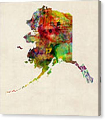 Alaska Watercolor Map Canvas Print