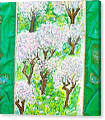 Almond Trees And Leaves Canvas Print by Augusta Stylianou