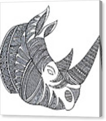 Animal Head Hippo Canvas Print