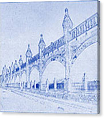 Antwerp Railway Bridge Blueprint Canvas Print