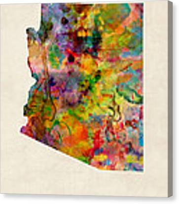 Arizona Watercolor Map Canvas Print