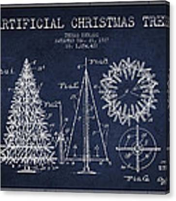 Artifical Christmas Tree Patent From 1927 - Navy Blue Canvas Print