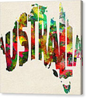 Australia Typographic Watercolor Map Canvas Print