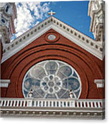 Basilica Of Saint Stanislaus Kostka Front Detail Canvas Print by Kari Yearous