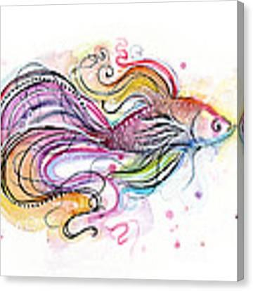 Betta Fish Watercolor Canvas Print