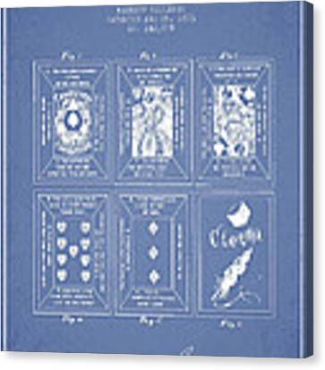Billings Playing Cards Patent Drawing From 1873 - Light Blue Canvas Print by Aged Pixel