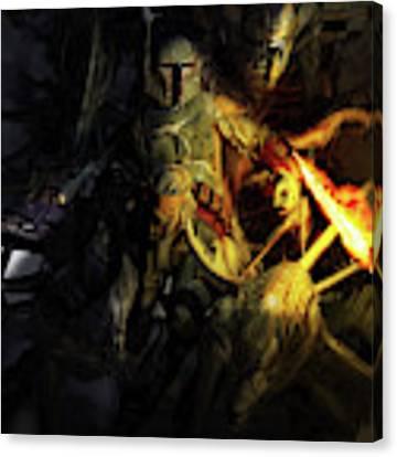 Boba Fett Fighting Off Aliens Canvas Print by Kurt Miller