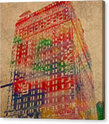 Book Cadillac Iconic Buildings Of Detroit Watercolor On Worn Canvas Series Number 3 Canvas Print by Design Turnpike