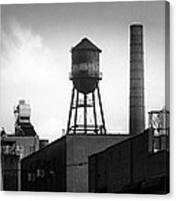 Brooklyn Water Tower And Smokestack - Black And White Industrial Chic Canvas Print by Gary Heller