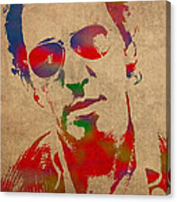 Bruce Springsteen Watercolor Portrait On Worn Distressed Canvas Canvas Print
