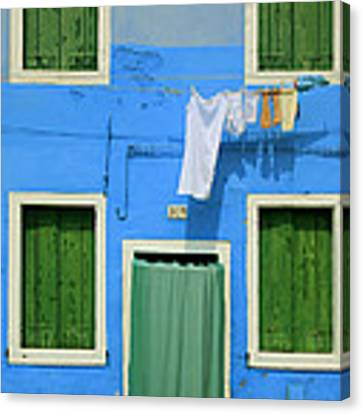 Burano Blue And Green Canvas Print