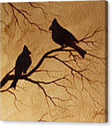 Cardinals Silhouettes Coffee Painting Canvas Print by Georgeta  Blanaru