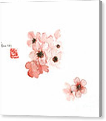 Cherry Blossom Sakura Pink Flower Flowers Delicate Branch Brown Watercolor Painting Canvas Print by Johana Szmerdt