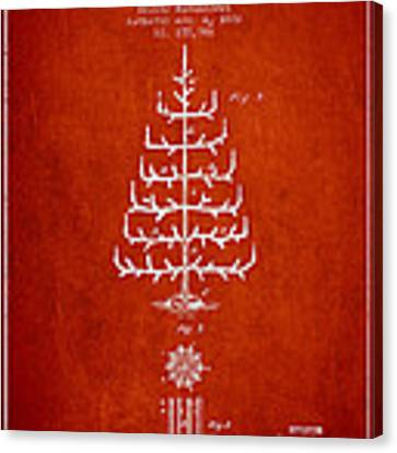 Christmas Tree Patent From 1882 - Red Canvas Print