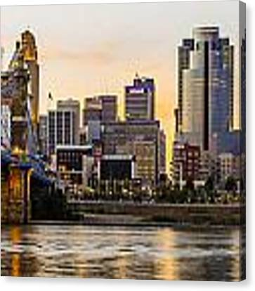 Cincinnati At Sunset From The River Canvas Print by At Lands End Photography