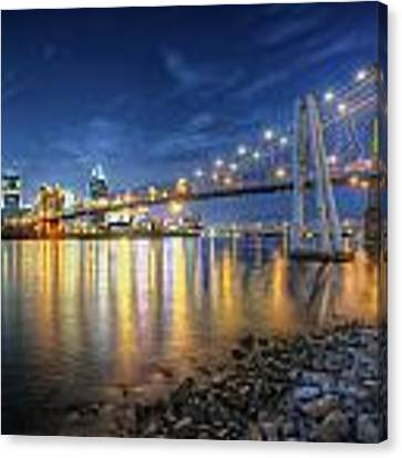 Cincinnati Skyline And Bridge At Night Canvas Print by At Lands End Photography