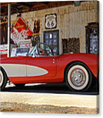 Classic Corvette On Route 66 Canvas Print