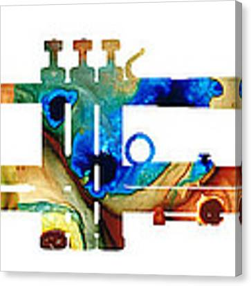 Colorful Trumpet Art By Sharon Cummings Canvas Print by Sharon Cummings