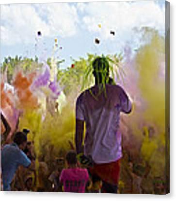 Colour Bombing  Canvas Print by Debbie Cundy