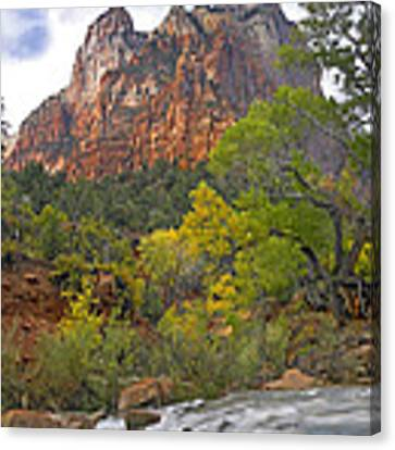 Court Of The Patriarchs Zion Np Utah Canvas Print by Tim Fitzharris