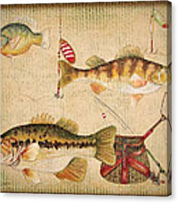 Fish Trio-a-basket Weave Border Canvas Print