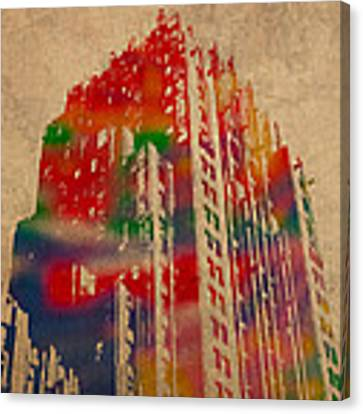 Fisher Building Iconic Buildings Of Detroit Watercolor On Worn Canvas Series Number 4 Canvas Print