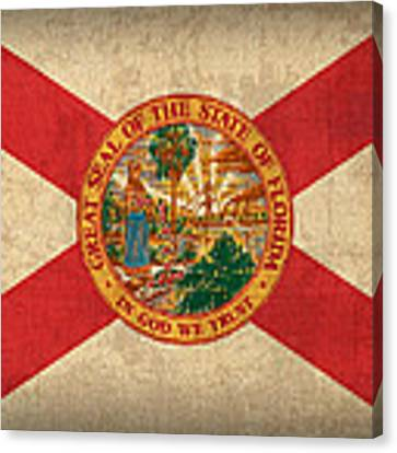 Florida State Flag Art On Worn Canvas Canvas Print