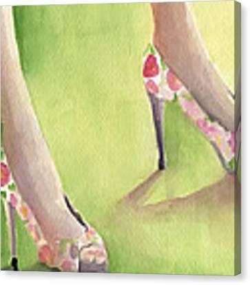 Flowered Shoes Fashion Illustration Art Print Canvas Print