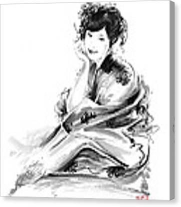 Geisha Geiko Maiko Young Girl Kimono Japanese Japan Woman Sumi-e Original Painting Art Print Canvas Print
