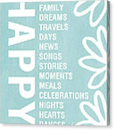 Happy Things Blue Canvas Print