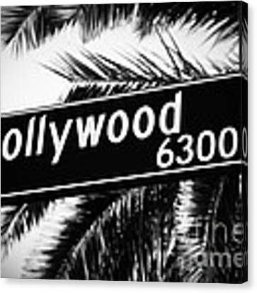 Hollywood Boulevard Street Sign In Black And White Canvas Print