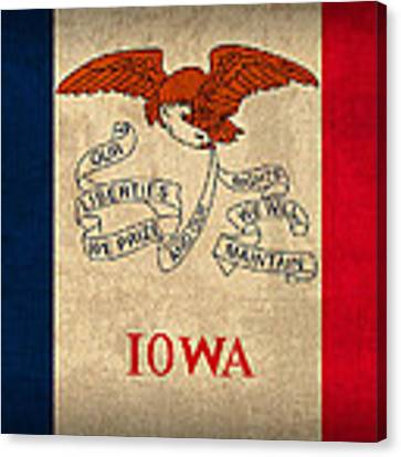 Iowa State Flag Art On Worn Canvas Canvas Print