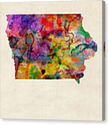 Iowa Watercolor Map Canvas Print