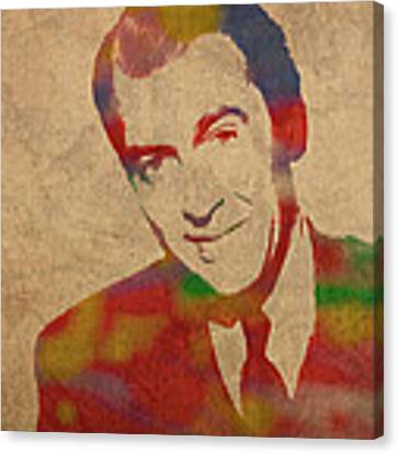 Jimmy Stewart Watercolor Portrait On Worn Distressed Canvas Canvas Print by Design Turnpike