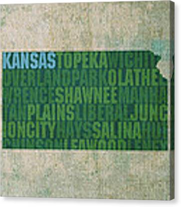 Kansas Word Art State Map On Canvas Canvas Print by Design Turnpike