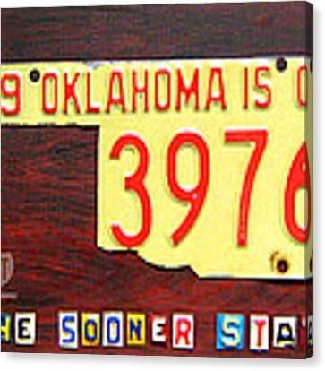 License Plate Map Of Oklahoma By Design Turnpike Canvas Print by Design Turnpike
