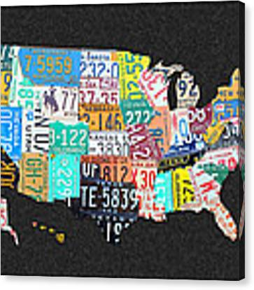 License Plate Map Of The United States On Gray Felt With Black Box Frame Edition 14 Canvas Print