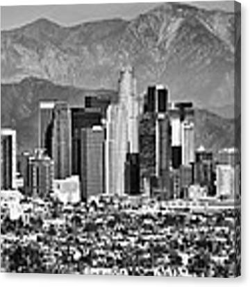 Los Angeles California Skyline - Black And White Canvas Print by Gregory Ballos