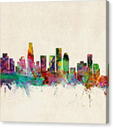 Los Angeles City Skyline Canvas Print by Michael Tompsett