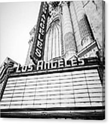 Los Angeles Theatre Sign In Black And White Canvas Print