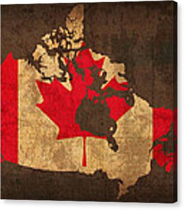 Map Of Canada With Flag Art On Distressed Worn Canvas Canvas Print