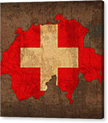 Map Of Switzerland With Flag Art On Distressed Worn Canvas Canvas Print