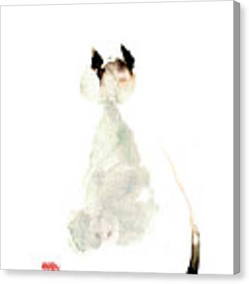 Meow Curious Cute Kitten Little Cat Watercolor Painting Funny Cats Canvas Print