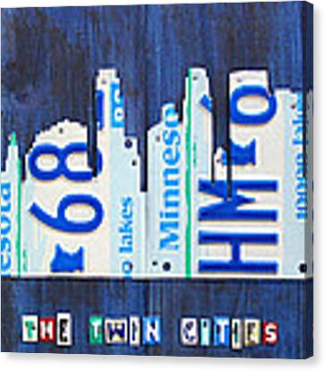 Minneapolis Minnesota City Skyline License Plate Art The Twin Cities Canvas Print