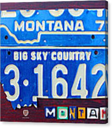 Montana License Plate Map Canvas Print